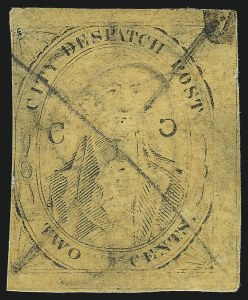 "Sale Number 1005, Lot Number 314, 1847-52 Coles Post Office City Despatch(Cole's) Post Office City Despatch, New York N.Y., 2c Black on Yellowish Buff Glazed, ""C"" at Right Inverted (40L8a), (Cole's) Post Office City Despatch, New York N.Y., 2c Black on Yellowish Buff Glazed, ""C"" at Right Inverted (40L8a)"
