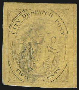 "Sale Number 1005, Lot Number 315, 1847-52 Coles Post Office City Despatch(Cole's) Post Office City Despatch, New York N.Y., 2c Black on Yellowish Buff Glazed, Hand-Etched Sideways ""C"" at Left (40L8b), (Cole's) Post Office City Despatch, New York N.Y., 2c Black on Yellowish Buff Glazed, Hand-Etched Sideways ""C"" at Left (40L8b)"
