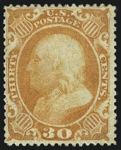 Sale Number 1007, Lot Number 2172, 24c-90c 1857-60 Issue (Scott 37-39)30c Orange (38), 30c Orange (38)