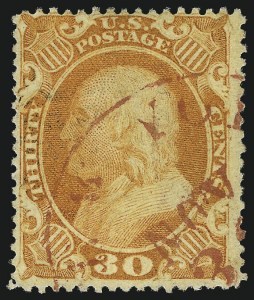 Sale Number 1007, Lot Number 2176, 24c-90c 1857-60 Issue (Scott 37-39)30c Orange (38), 30c Orange (38)