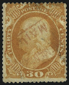 Sale Number 1007, Lot Number 2180, 24c-90c 1857-60 Issue (Scott 37-39)30c Orange (38), 30c Orange (38)