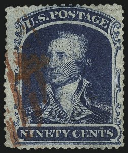 Sale Number 1007, Lot Number 2186, 24c-90c 1857-60 Issue (Scott 37-39)90c Blue (39), 90c Blue (39)