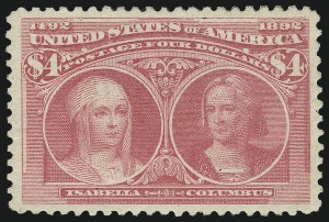Sale Number 1007, Lot Number 2451, 1893 Columbian Issue ($2.00 thru $5.00, Scott 242-245)$4.00 Rose Carmine, Columbian (244a), $4.00 Rose Carmine, Columbian (244a)