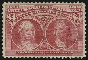 Sale Number 1007, Lot Number 2452, 1893 Columbian Issue ($2.00 thru $5.00, Scott 242-245)$4.00 Columbian (244), $4.00 Columbian (244)