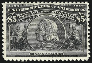 Sale Number 1007, Lot Number 2456, 1893 Columbian Issue ($2.00 thru $5.00, Scott 242-245)$5.00 Columbian (245). Mint N.H, $5.00 Columbian (245). Mint N.H