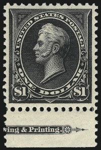 Sale Number 1007, Lot Number 2517, 1895 Watermarked Bureau Issue (Scott 268-284)$1.00 Black, Ty. II (276A), $1.00 Black, Ty. II (276A)