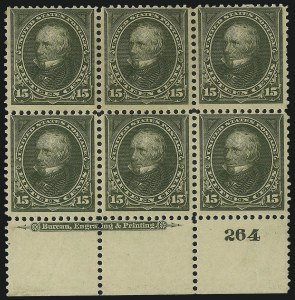 Sale Number 1007, Lot Number 2532, 1895 Watermarked Bureau Issue (Scott 268-284)15c Olive Green (284), 15c Olive Green (284)