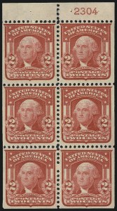 Sale Number 1007, Lot Number 2618, 1902-08 Issues (Scott 300-320)2c Carmine, Ty. I, Booklet Panes of Six (319g), 2c Carmine, Ty. I, Booklet Panes of Six (319g)