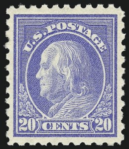 Sale Number 1007, Lot Number 2720, 1913-15 Washington-Franklin Issues (Scott 424-460)20c Ultramarine (438), 20c Ultramarine (438)