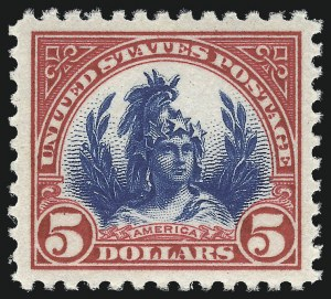 Sale Number 1007, Lot Number 2854, 1922-29 Issues (Scott 551-573a)$5.00 Carmine & Blue (573), $5.00 Carmine & Blue (573)