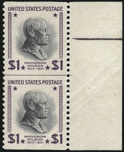 Sale Number 1007, Lot Number 2888, 1922 and Later Issues (Scott 578 onwards)$1.00 Presidential, 1938 Printing, Vertical Pair, Imperforate Horizontally (832a), $1.00 Presidential, 1938 Printing, Vertical Pair, Imperforate Horizontally (832a)
