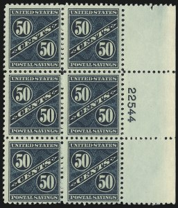 Sale Number 1007, Lot Number 3223, Savings Stamps (PS, WS)25c Dark Blue Green, 50c Dark Carmine Rose, Postal Savings (PS8-PS9), 25c Dark Blue Green, 50c Dark Carmine Rose, Postal Savings (PS8-PS9)