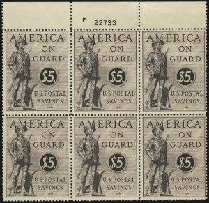 Sale Number 1007, Lot Number 3224, Savings Stamps (PS, WS)$5.00 Sepia, Postal Savings (PS15), $5.00 Sepia, Postal Savings (PS15)
