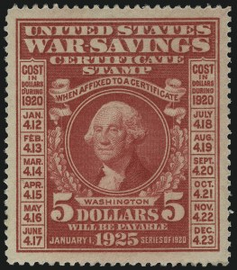 Sale Number 1007, Lot Number 3226, Savings Stamps (PS, WS)$5.00 1917-19 War Savings (WS3-WS5), $5.00 1917-19 War Savings (WS3-WS5)