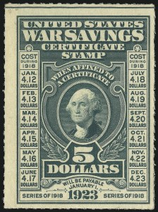 Sale Number 1007, Lot Number 3227, Savings Stamps (PS, WS)$5.00 Deep Green, War Savings, Rouletted 7 (WS3), $5.00 Deep Green, War Savings, Rouletted 7 (WS3)