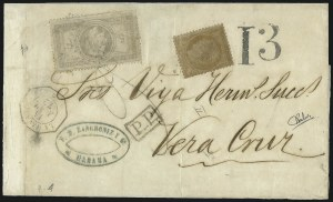 Sale Number 1010, Lot Number 199, French Consular P.O. in CubaFRANCE, 1869, 5fr Laureated (37), FRANCE, 1869, 5fr Laureated (37)