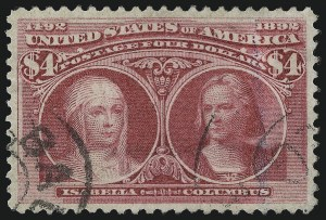 Sale Number 1010, Lot Number 86, Columbian Issue$4.00 Columbian (244), $4.00 Columbian (244)