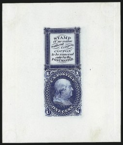 Sale Number 1011, Lot Number 315, Essays and Proofs - 1845 thru 1861 Issues1c Blue, Bowlsby Patent Coupon Die Essay on White Glazed Paper (63-E13b), 1c Blue, Bowlsby Patent Coupon Die Essay on White Glazed Paper (63-E13b)