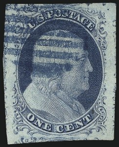 Sale Number 1011, Lot Number 393, 1c-12c 1851-56 Issue (Scott 6-17)1c Blue, Ty. II (7), 1c Blue, Ty. II (7)