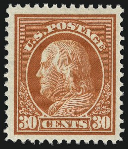 Sale Number 1011, Lot Number 724, 1912-15 Washington-Franklin Issues (Scott 407-460)30c Orange Red (420), 30c Orange Red (420)