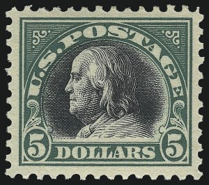 Sale Number 1011, Lot Number 782, 1917-20 Washington-Franklin Issues (Scott 493-547)$5.00 Deep Green & Black (524), $5.00 Deep Green & Black (524)