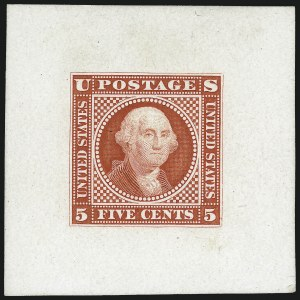 Sale Number 1013, Lot Number 112, 1869 Pictorial Issue Essays and Proofs5c Washington, Large Lettering, Scarlet Large Die Essay on Glazed Paper (115-E1k), 5c Washington, Large Lettering, Scarlet Large Die Essay on Glazed Paper (115-E1k)