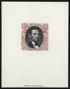 Sale Number 1013, Lot Number 124, 1869 Pictorial Issue Essays and Proofs90c Carmine & Black, Hybrid Large Die Proof on India (122P1), 90c Carmine & Black, Hybrid Large Die Proof on India (122P1)