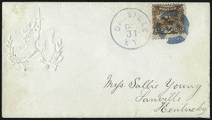 Sale Number 1013, Lot Number 157, 1869 Pictorial Issue Used and On Cover2c Brown (113), 2c Brown (113)