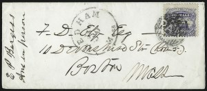 Sale Number 1013, Lot Number 186, 1869 Pictorial Issue Used and On Cover3c Ultramarine (114), 3c Ultramarine (114)