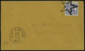 Sale Number 1013, Lot Number 187, 1869 Pictorial Issue Used and On Cover3c Ultramarine (114), 3c Ultramarine (114)