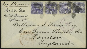 Sale Number 1013, Lot Number 192, 1869 Pictorial Issue Used and On Cover3c Ultramarine (114), 3c Ultramarine (114)