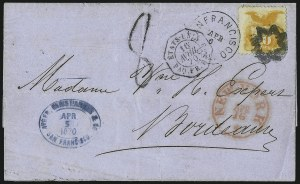 Sale Number 1013, Lot Number 201, 1869 Pictorial Issue Used and On Cover10c Yellow (116), 10c Yellow (116)