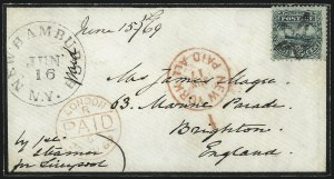 Sale Number 1013, Lot Number 206, 1869 Pictorial Issue Used and On Cover12c Green (117), 12c Green (117)