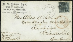 Sale Number 1013, Lot Number 207, 1869 Pictorial Issue Used and On Cover12c Green (117), 12c Green (117)
