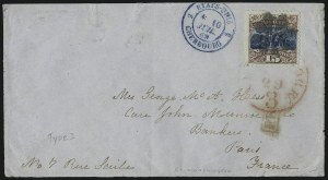 Sale Number 1013, Lot Number 212, 1869 Pictorial Issue Used and On Cover15c Brown & Blue, Ty. I (118), 15c Brown & Blue, Ty. I (118)