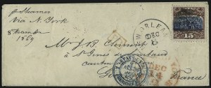Sale Number 1013, Lot Number 219, 1869 Pictorial Issue Used and On Cover15c Brown & Blue, Ty. II (119), 15c Brown & Blue, Ty. II (119)