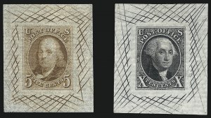 Sale Number 1013, Lot Number 265, Pre-1870 Issues5c Red Brown, 10c Black, Large Die Proofs on White Horizontal Laid Paper (1P1c-2P1c), 5c Red Brown, 10c Black, Large Die Proofs on White Horizontal Laid Paper (1P1c-2P1c)