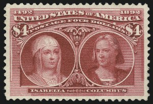 Sale Number 1013, Lot Number 311, Columbian Issue$4.00 Columbian (244), $4.00 Columbian (244)