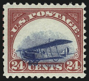 Sale Number 1013, Lot Number 485, Air Post24c Carmine Rose & Blue, 1918 Air Post, Grounded Plane Variety (C3 var), 24c Carmine Rose & Blue, 1918 Air Post, Grounded Plane Variety (C3 var)