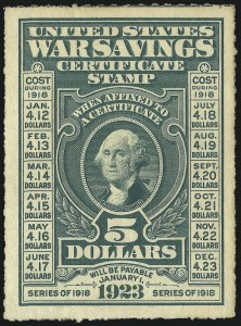 Sale Number 1013, Lot Number 503, Back-of-Book Issues, Confederate States$5.00 Deep Green, War Savings, Rouletted 7 (WS3), $5.00 Deep Green, War Savings, Rouletted 7 (WS3)