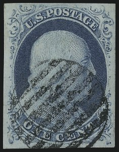 Sale Number 1014, Lot Number 1041, 1c-3c 1851-56 Issue (Scott 5A-11A)1c Blue, Ty. II (7), 1c Blue, Ty. II (7)