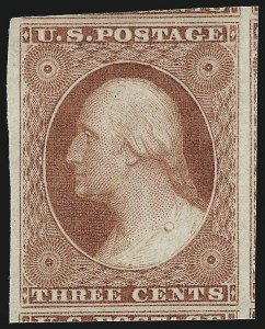 Sale Number 1014, Lot Number 1055, 1c-3c 1851-56 Issue (Scott 5A-11A)3c Dull Red, Ty. I (11). Mint N.H, 3c Dull Red, Ty. I (11). Mint N.H