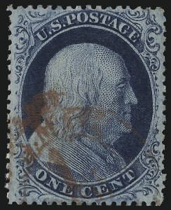 Sale Number 1014, Lot Number 1086, 1c-5c 1857-60 Issue (Scott 18-30A)1c Blue, Ty. III (21), 1c Blue, Ty. III (21)