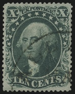 Sale Number 1014, Lot Number 1107, 10c-90c 1857-60 Issue (Scott 31-39)10c Green, Ty. II (32), 10c Green, Ty. II (32)