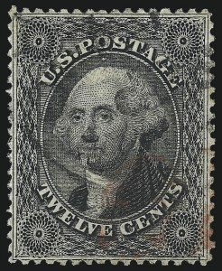 Sale Number 1014, Lot Number 1112, 10c-90c 1857-60 Issue (Scott 31-39)12c Black, Plate 1 (36), 12c Black, Plate 1 (36)