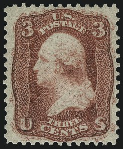 Sale Number 1014, Lot Number 1157, 1861-66 Issue (Scott 56-66a)3c Brown Rose, First Design (56). Mint N.H, 3c Brown Rose, First Design (56). Mint N.H