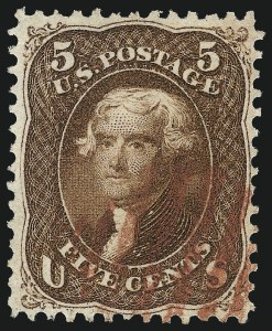 Sale Number 1014, Lot Number 1211, 1861-66 Issue (Scott 72-78b)5c Red Brown (75), 5c Red Brown (75)