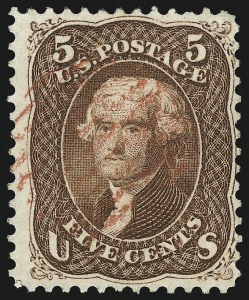 Sale Number 1014, Lot Number 1212, 1861-66 Issue (Scott 72-78b)5c Red Brown (75), 5c Red Brown (75)