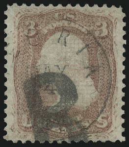Sale Number 1014, Lot Number 1231, 1867-68 Grilled Issue (Scott 79-91)3c Rose, Z. Grill (85C), 3c Rose, Z. Grill (85C)