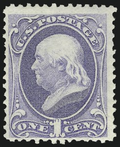 Sale Number 1014, Lot Number 1399, 1873 Continental Bank Note Co. Issue (Scott 156-166)1c Ultramarine (156). Mint N.H, 1c Ultramarine (156). Mint N.H